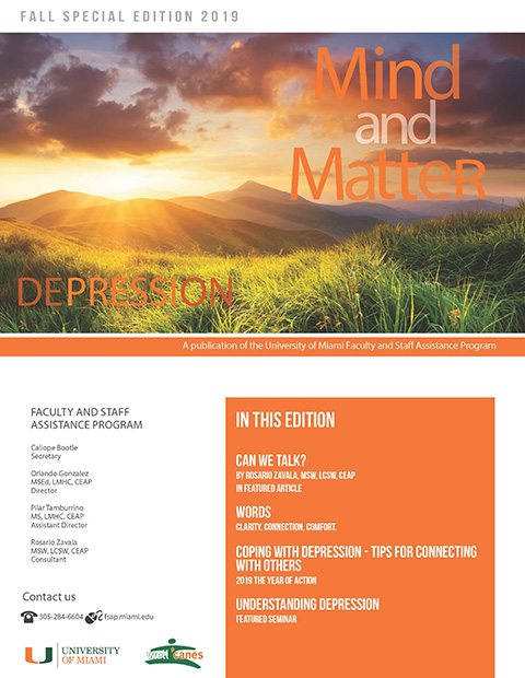 Image of the Mind and Matter newsletter for Fall with image of a Sunset behind a mountain range